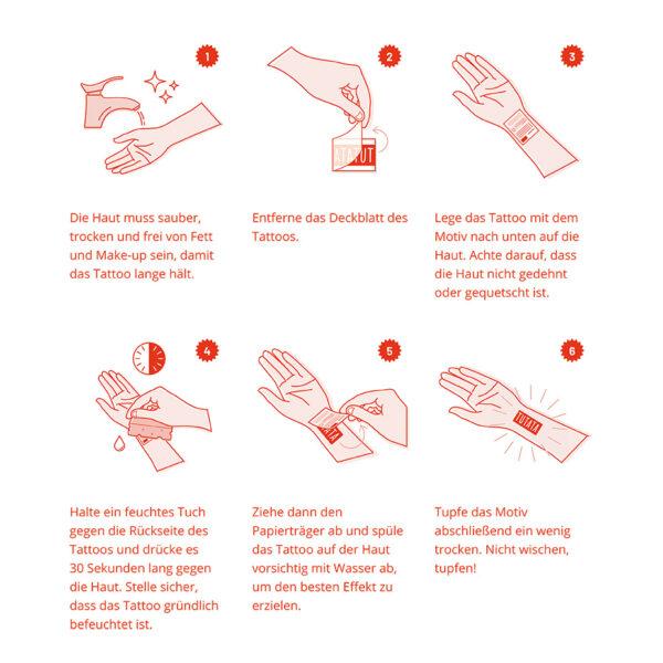 TUTATA Anleitung Klebetattoo auftragen in 6 Schritten